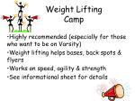 weight lifting camp