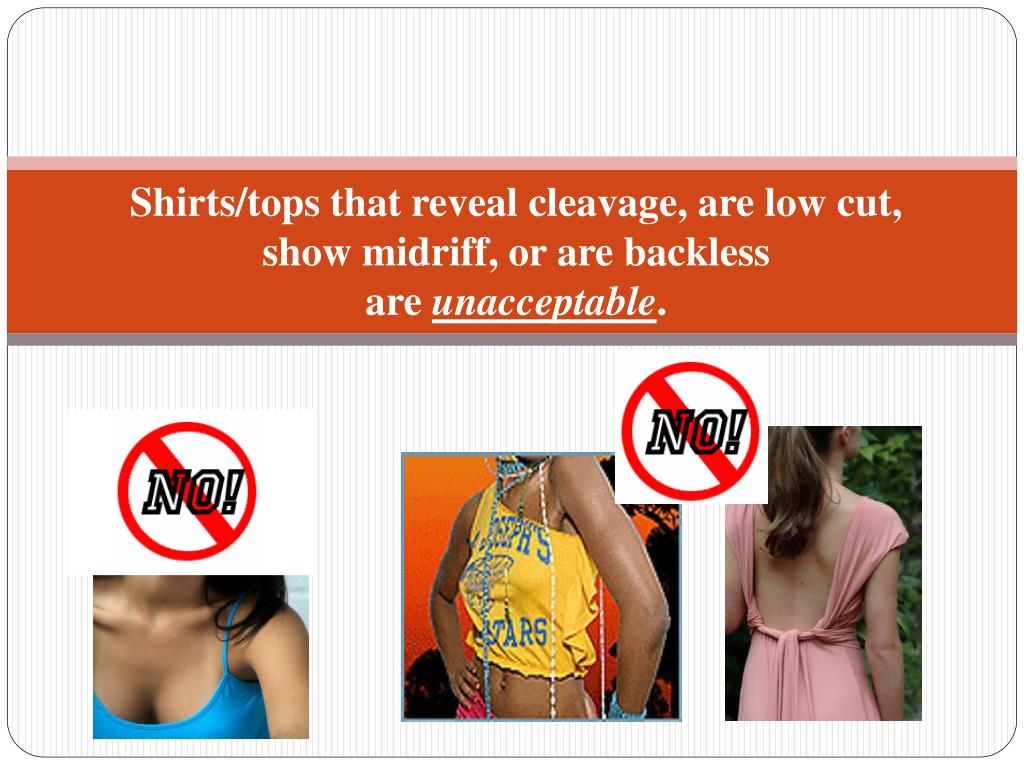 Shirts/tops that reveal cleavage, are low cut,