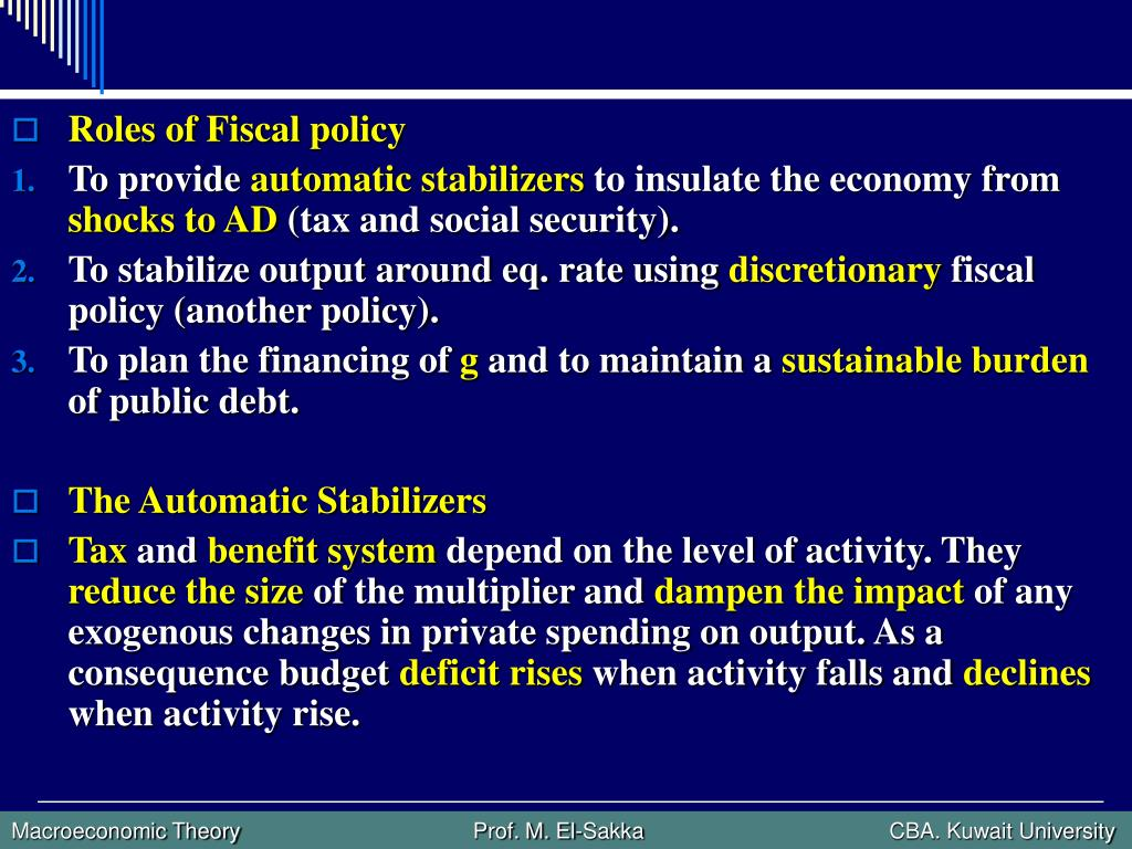 Roles of Fiscal policy