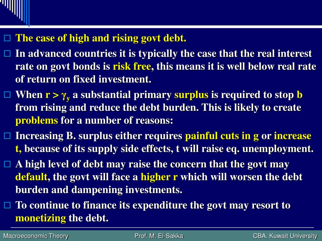 The case of high and rising govt debt.