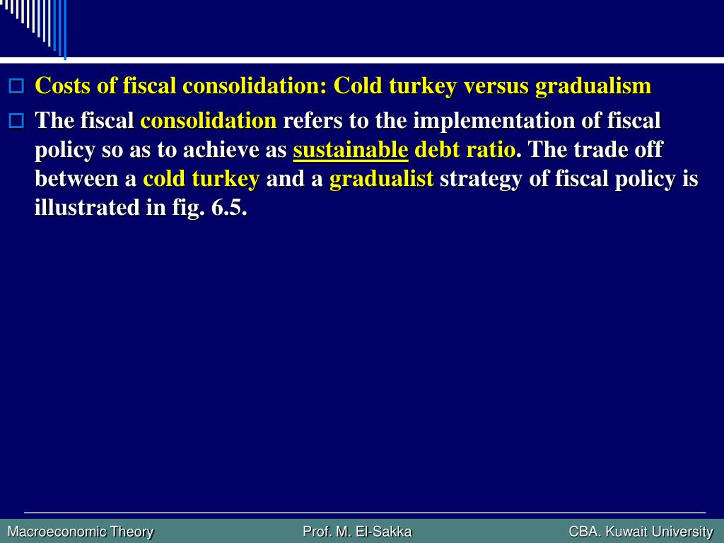 Costs of fiscal consolidation: Cold turkey versus gradualism