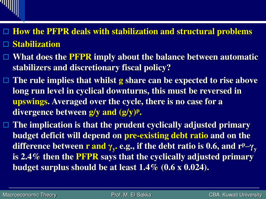 How the PFPR deals with stabilization and structural problems