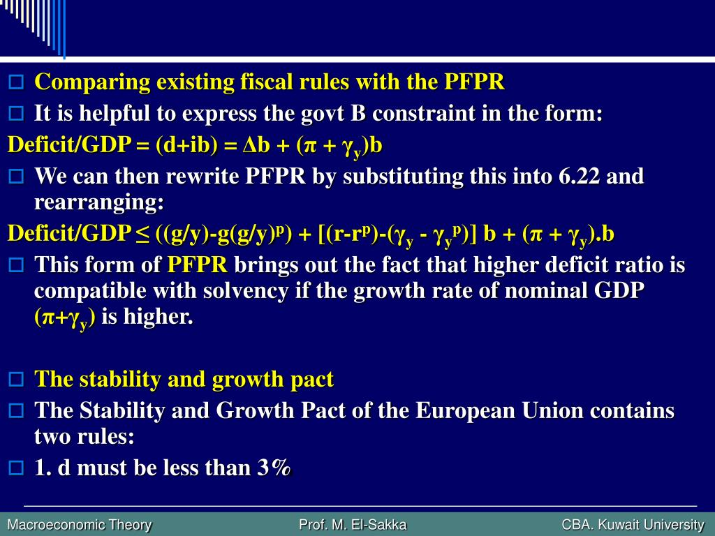 Comparing existing fiscal rules with the PFPR