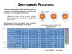 geomagnetic precursors