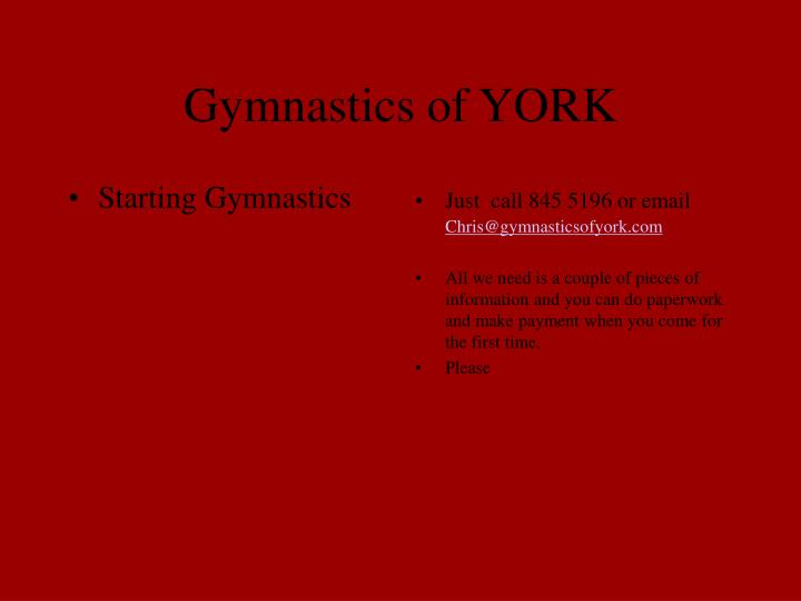 Gymnastics of york