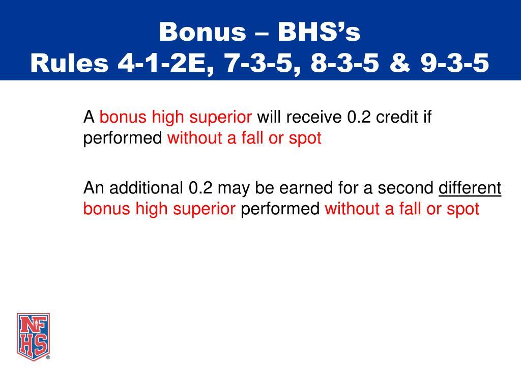 Bonus – BHS's
