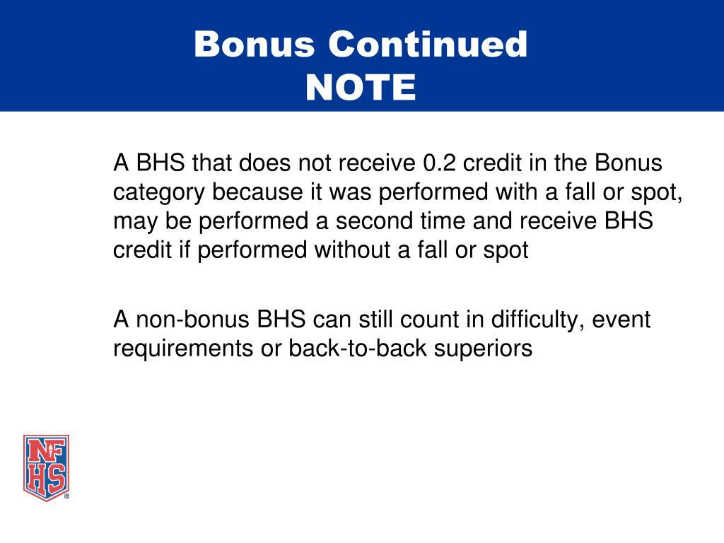 Bonus Continued