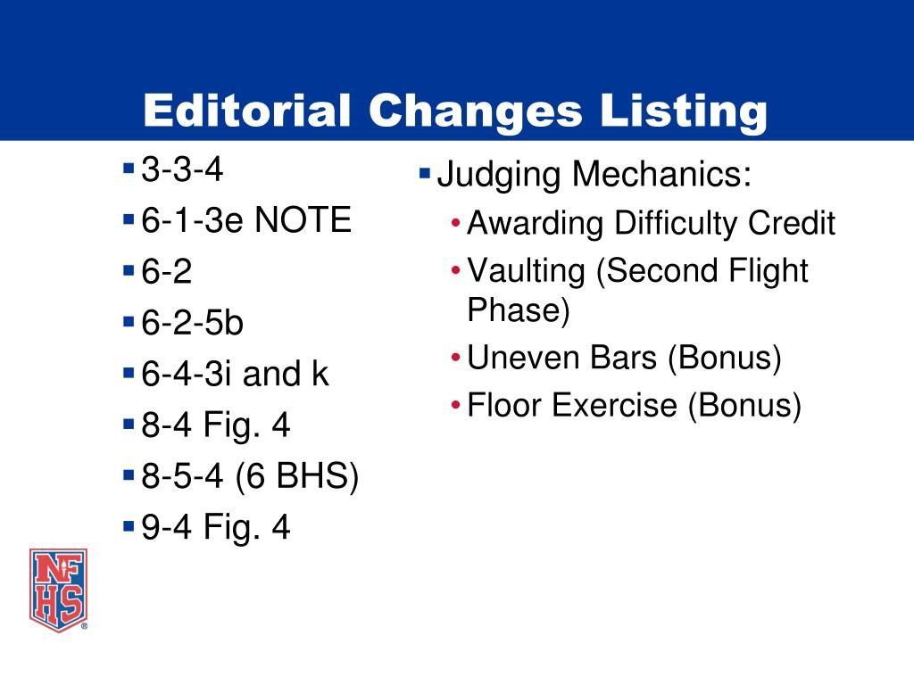 Editorial Changes Listing