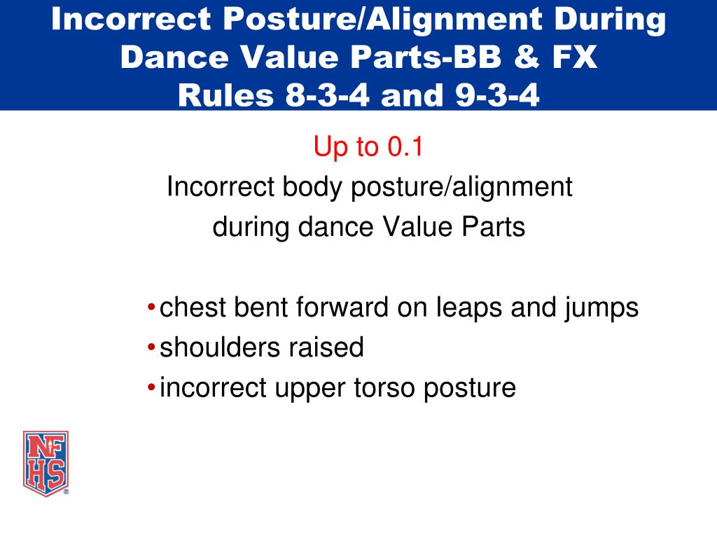 Incorrect Posture/Alignment During Dance Value Parts-BB & FX