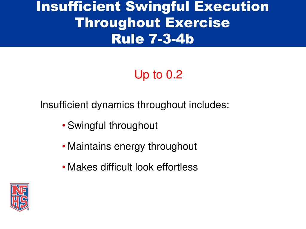 Insufficient Swingful Execution Throughout Exercise
