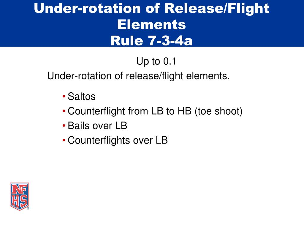 Under-rotation of Release/Flight Elements
