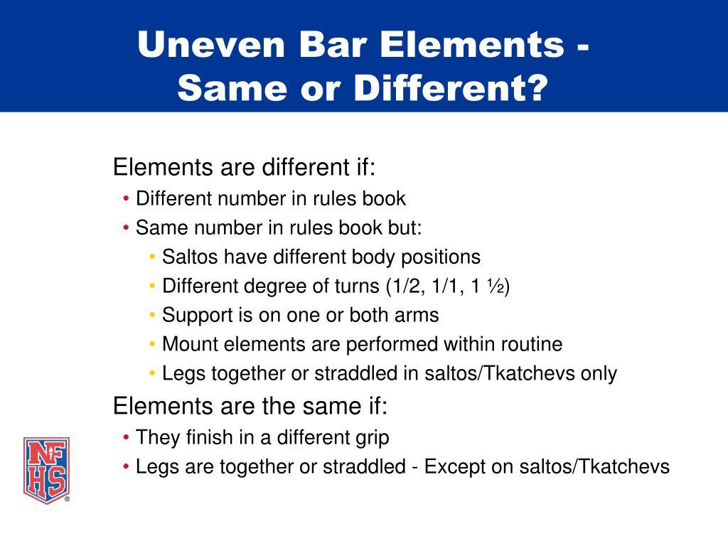 Uneven Bar Elements -