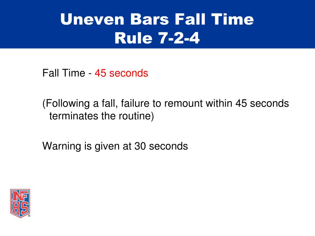 Uneven Bars Fall Time