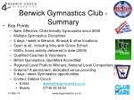 berwick gymnastics club summary