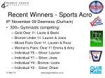 recent winners sports acro