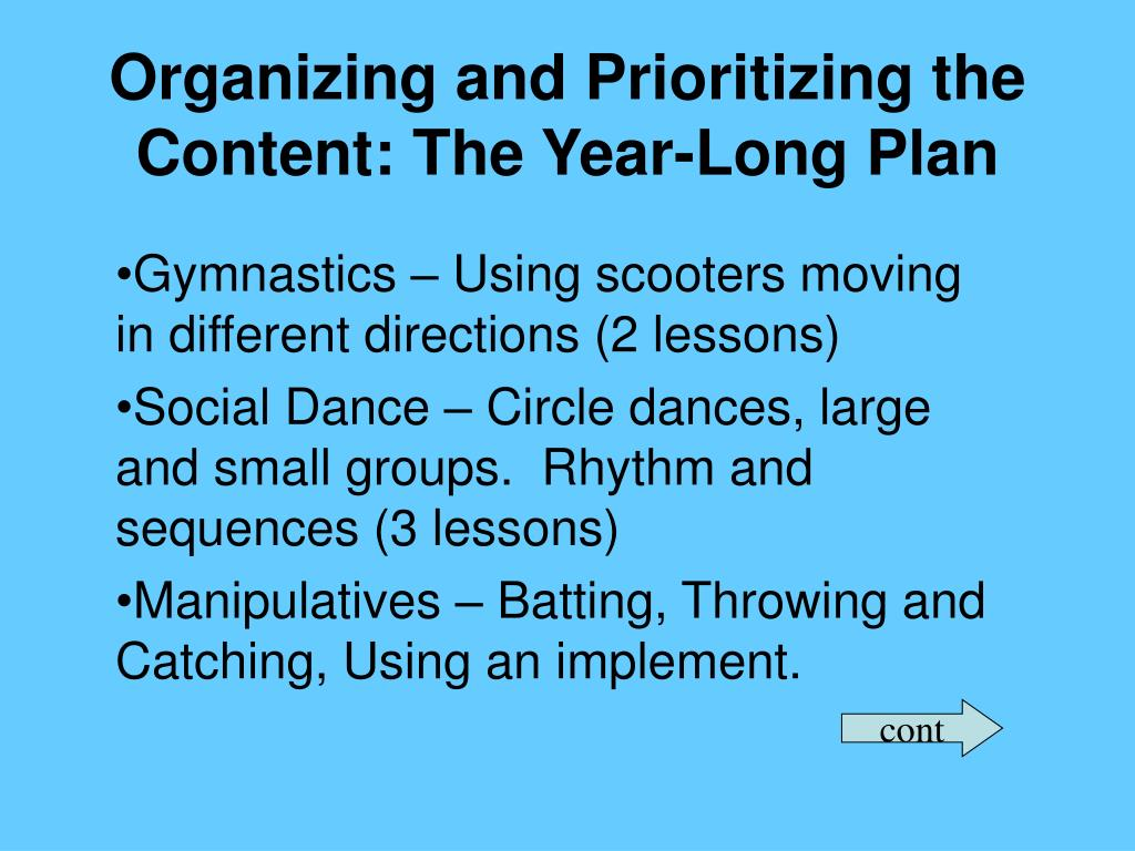 Organizing and Prioritizing the Content: The Year-Long Plan