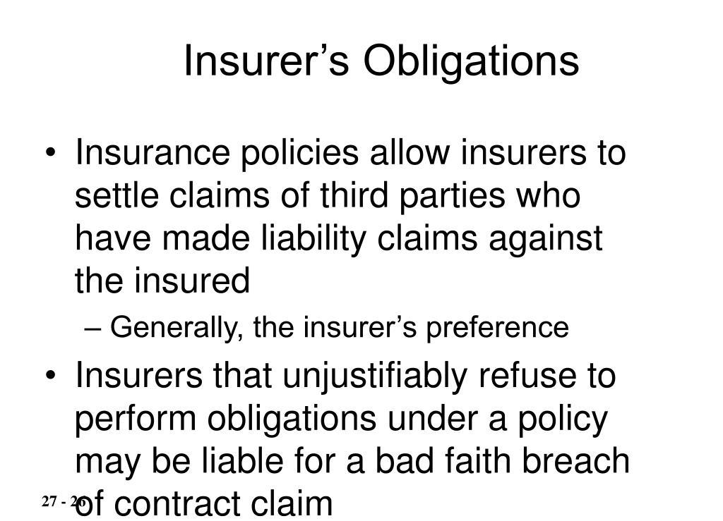 Insurer's Obligations