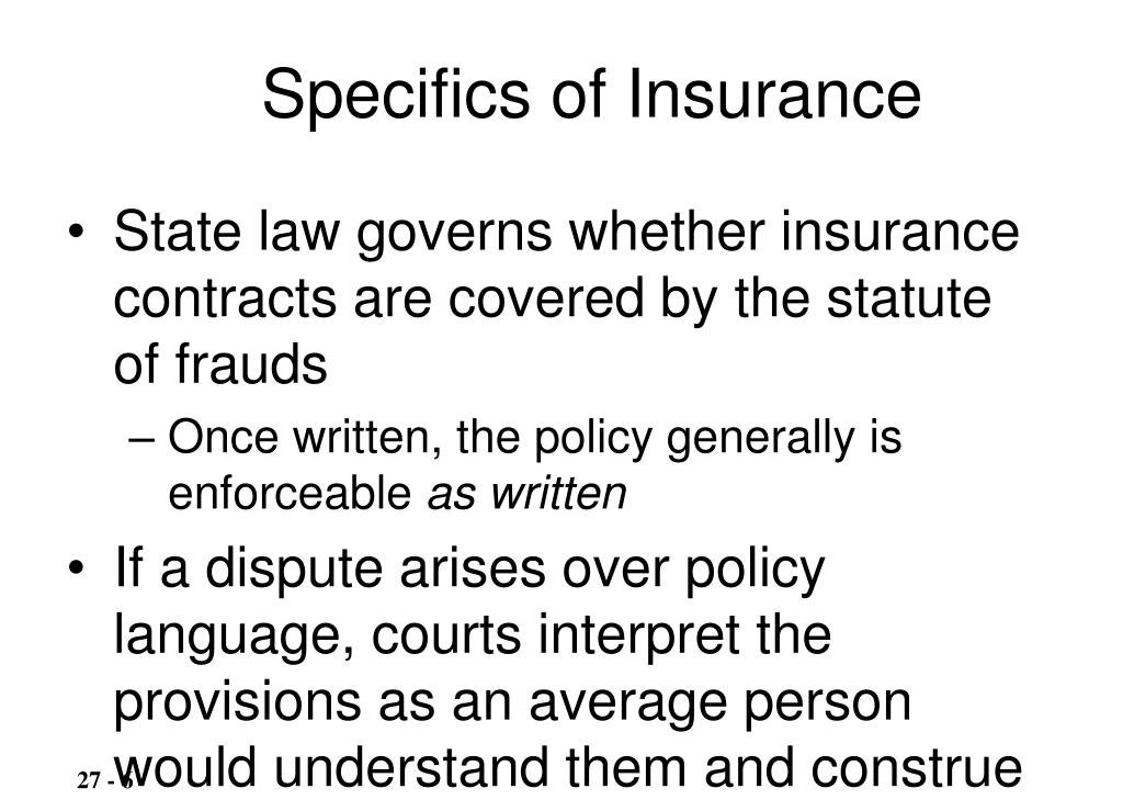 Specifics of Insurance