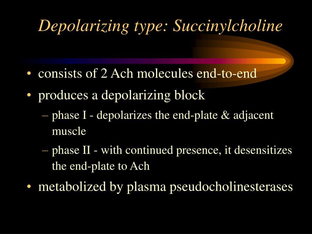 Depolarizing type: Succinylcholine