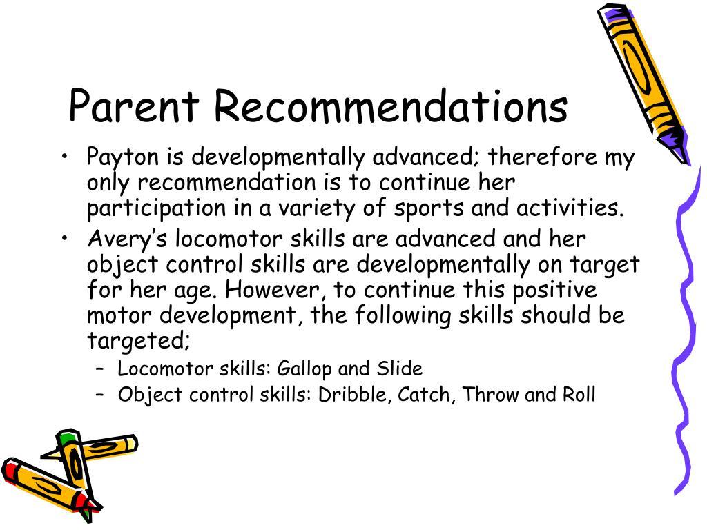 Parent Recommendations