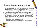parent recommendations