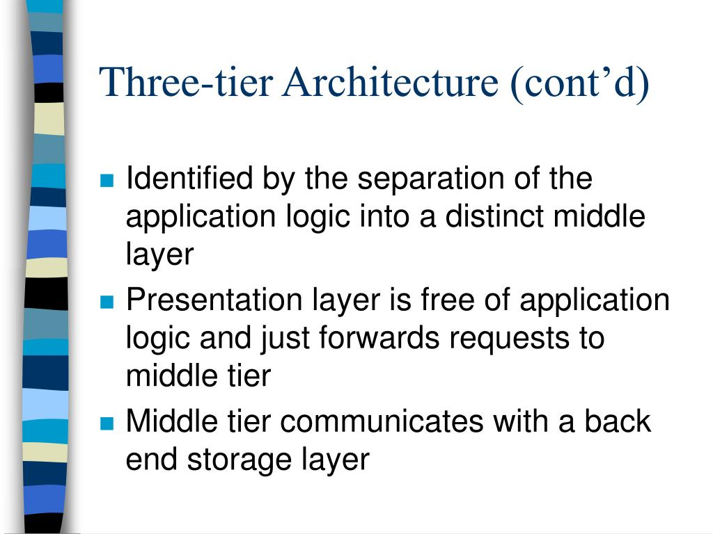 Identified by the separation of the application logic into a distinct middle layer