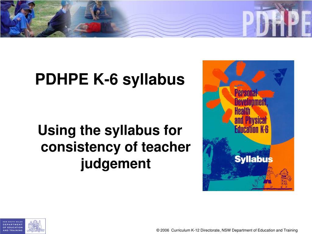 PDHPE K-6 syllabus