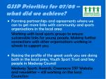gssp priorities for 07 08 what did we achieve5