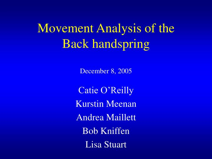 Movement analysis of the back handspring