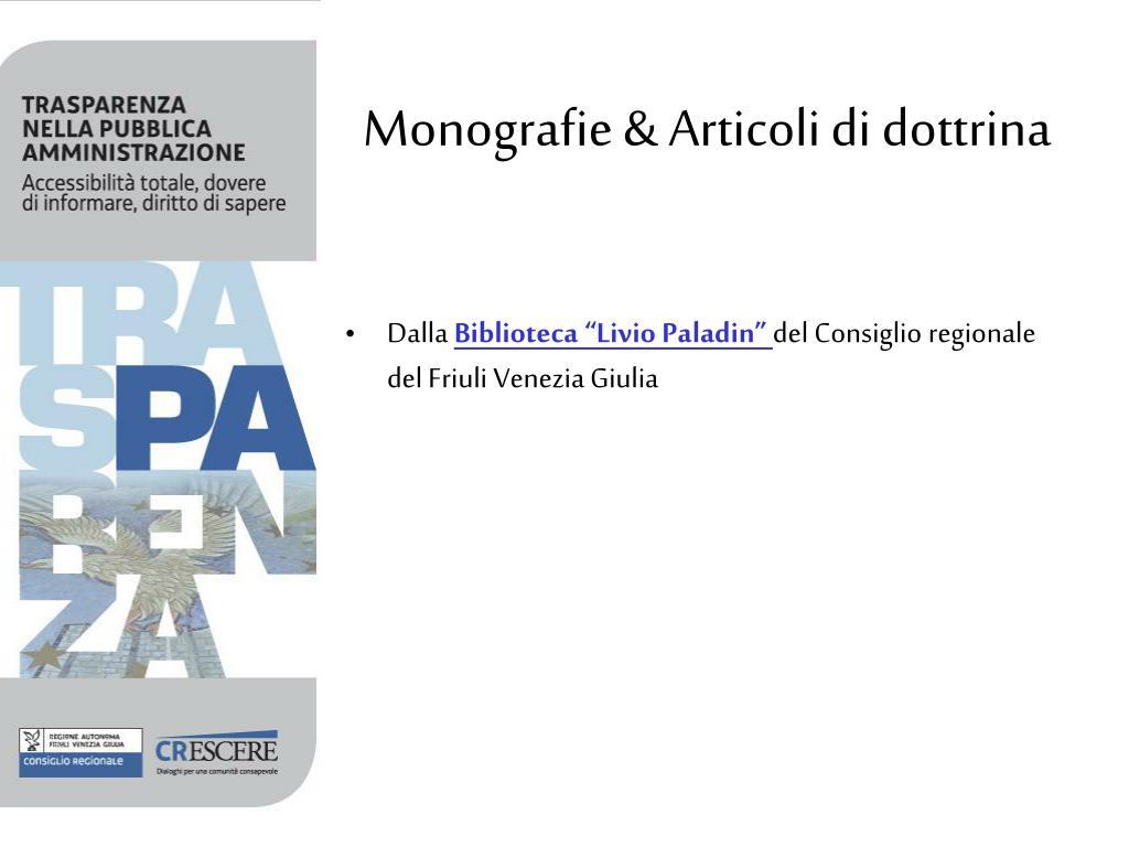 Monografie & Articoli di dottrina