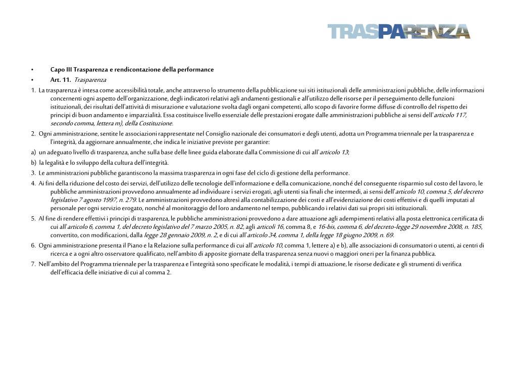 Capo III Trasparenza e rendicontazione della performance