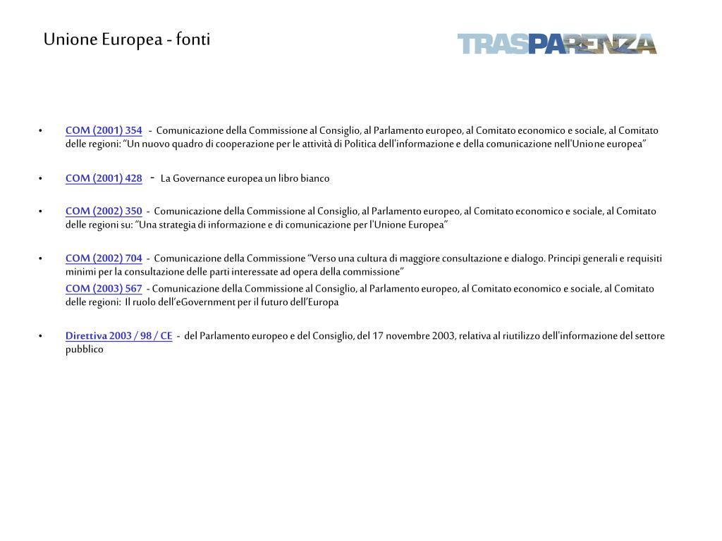 Unione Europea - fonti