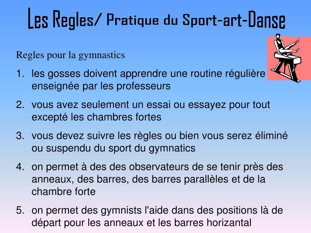 Les Regles/ Pratique du Sport-art-Danse