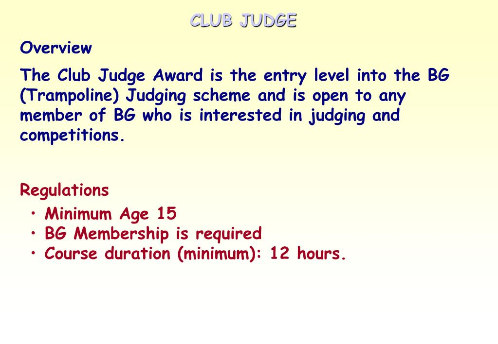 CLUB JUDGE