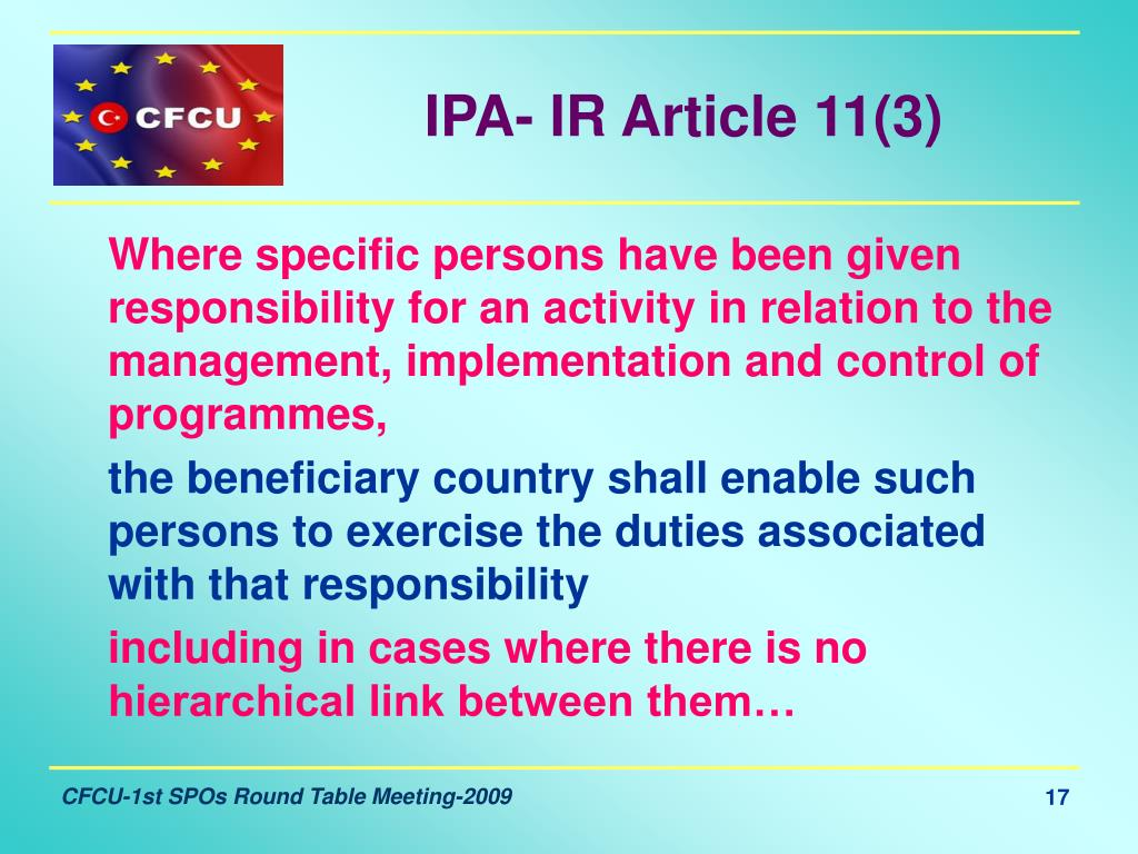 IPA- IR Article 11(3)