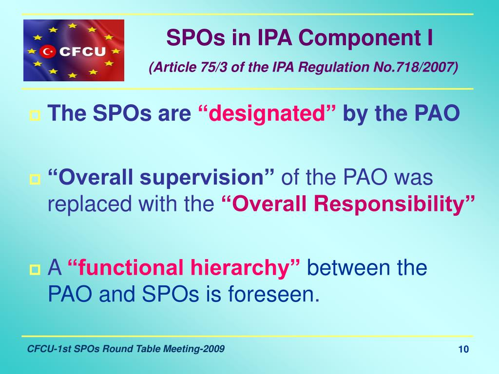 SPOs in IPA Component I