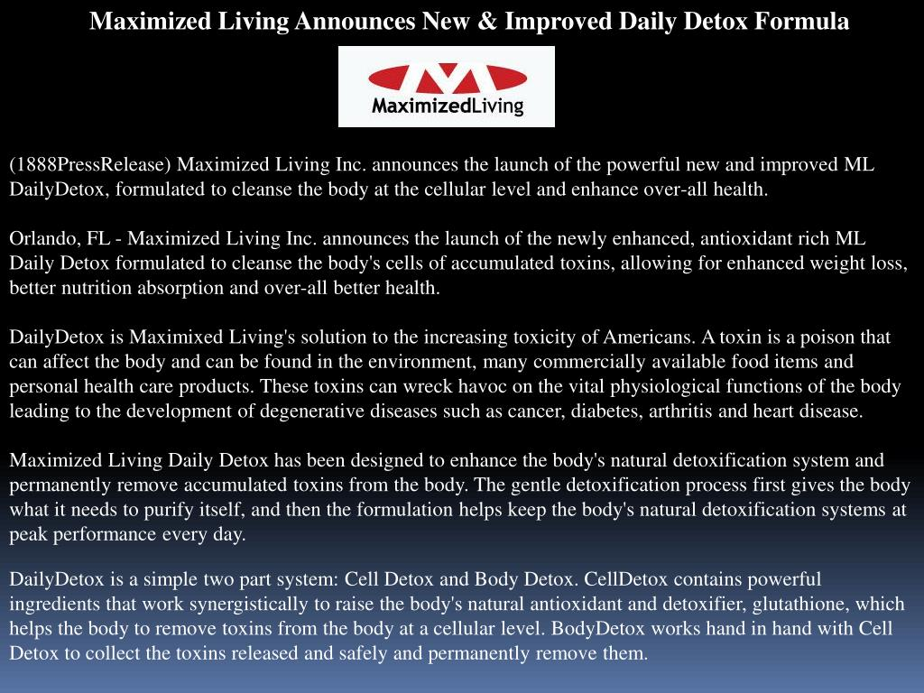 Maximized Living Announces New & Improved Daily Detox Formula