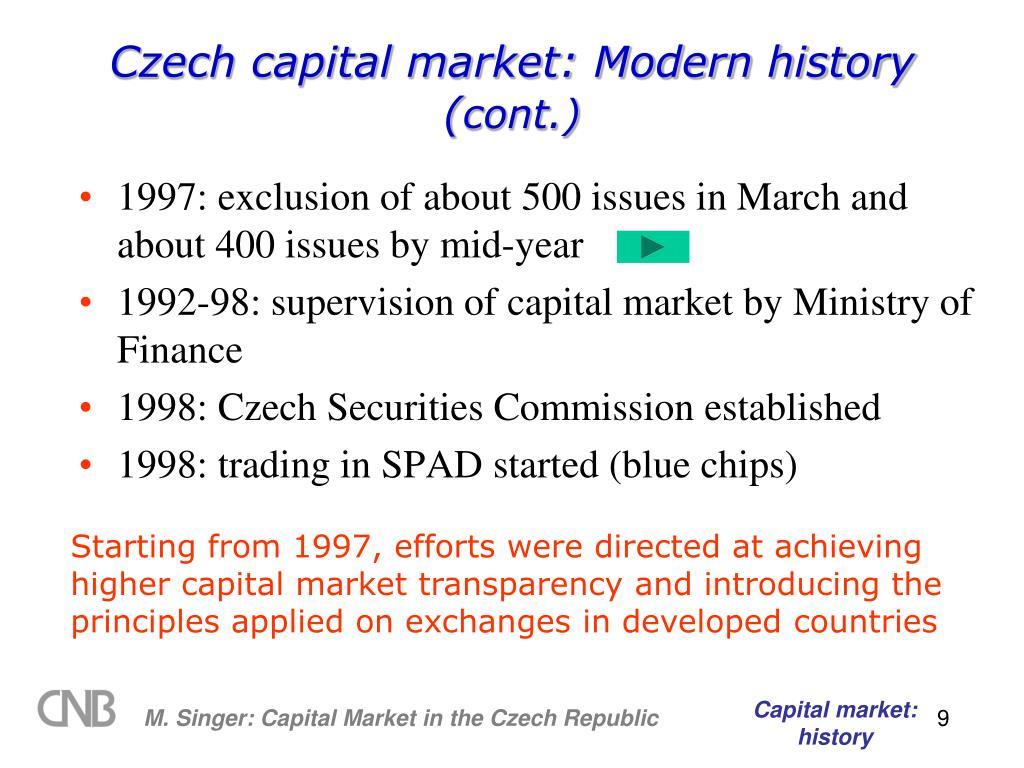 Czech capital market: Modern history (