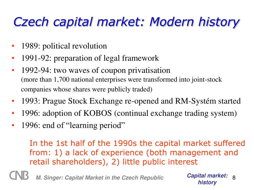 Czech capital market: Modern history