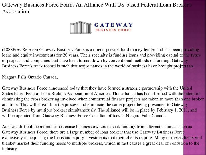 Gateway Business Force Forms An Alliance With US-based Federal Loan Broker's Association