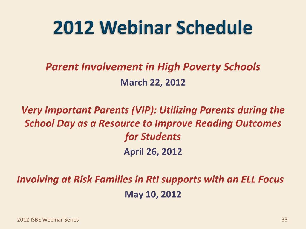 2012 Webinar Schedule