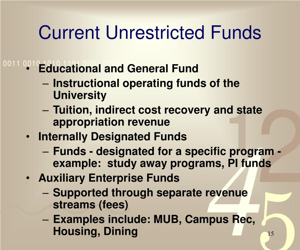 Current Unrestricted Funds