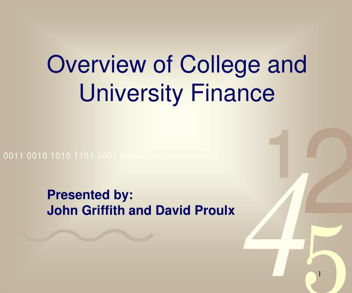 Overview of college and university finance