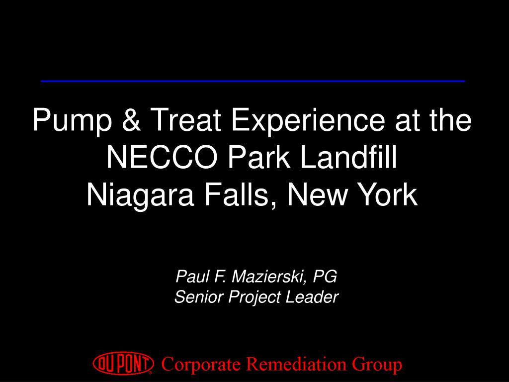 Pump & Treat Experience at the NECCO Park Landfill