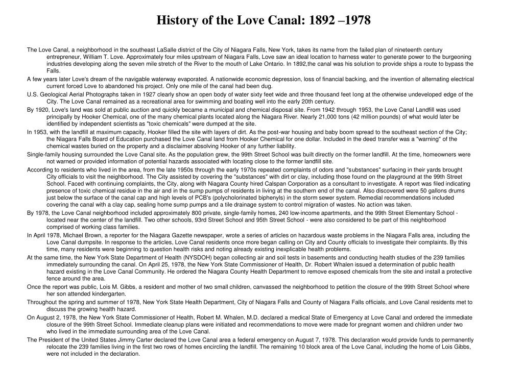 History of the Love Canal: 1892 –1978