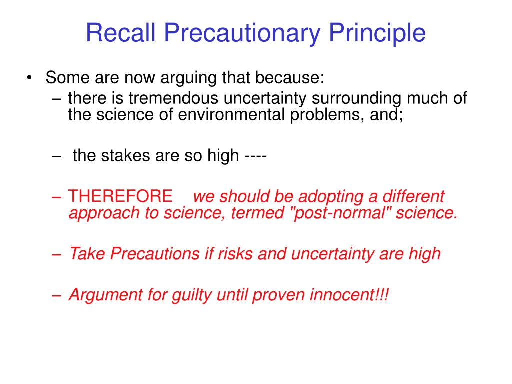 Recall Precautionary Principle