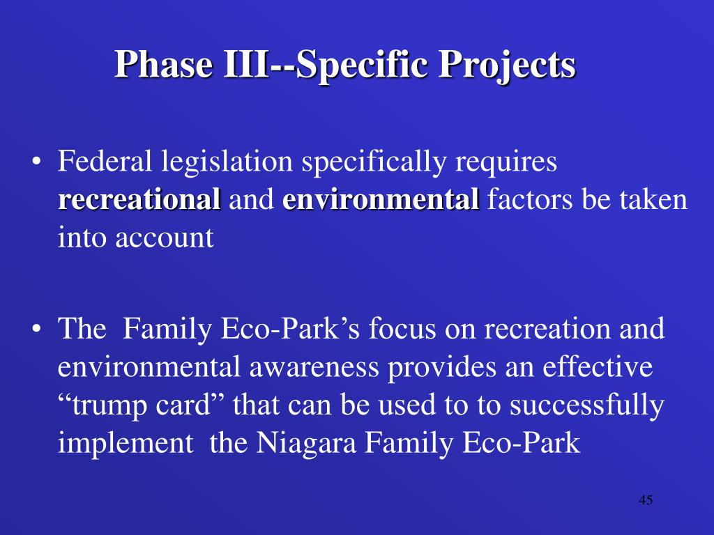 Phase III--Specific Projects