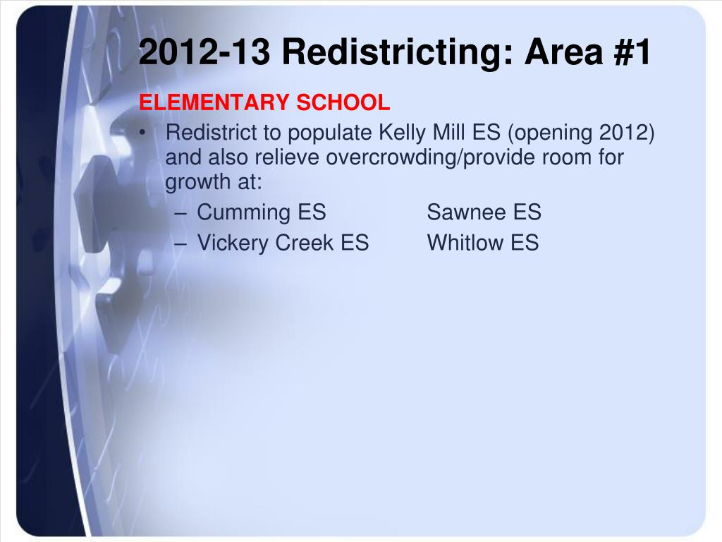 2012-13 Redistricting: Area #1