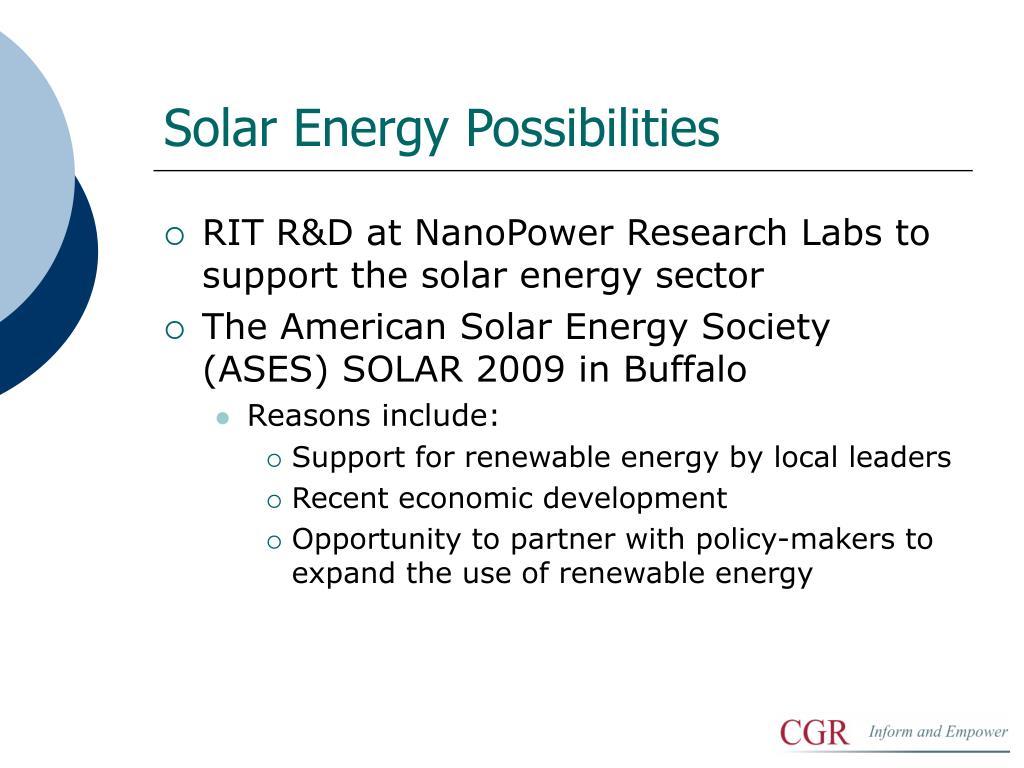 Solar Energy Possibilities