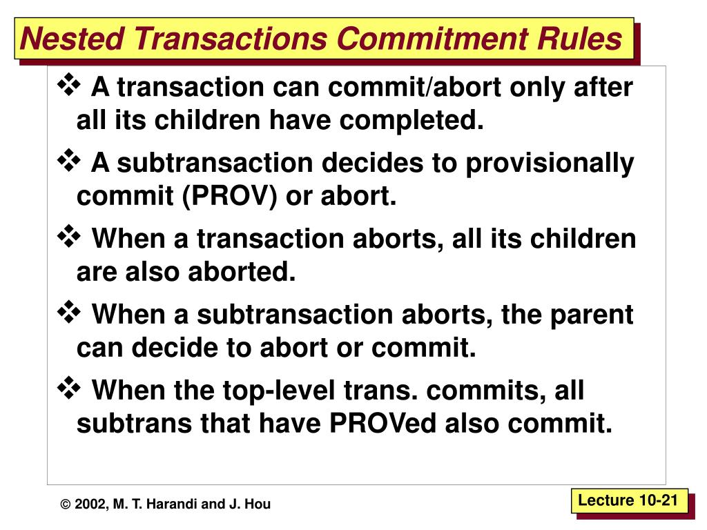 Nested Transactions Commitment Rules
